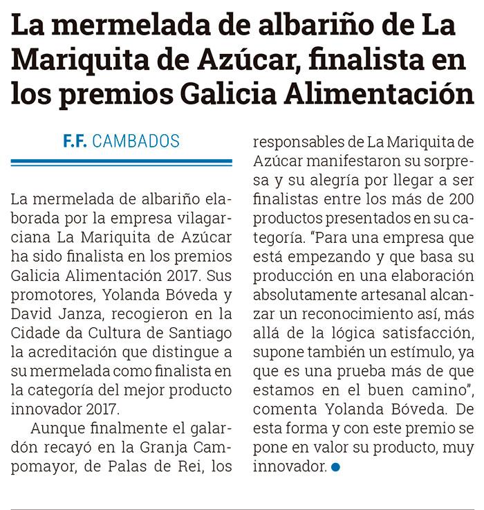 La Mariquita de Azúcar en El Diario de Arosa